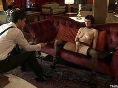 Brunette girl in stockings gets her pussy toyed. After that she gets tied up and whipped. This bitch enjoys the every second of this show.