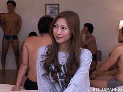 Insatiable Japanese bitch Reira Aisaki loves to suck cocks. She pleases many guys with blowjobs and seems to enjoy it much.