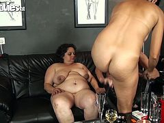 Tinny is big enough for two horny lesbians. She stays between these sluts and gets pounded by them. Romana and Zolitaire rub her cunt and then one of the women uses a strap on dildo to fuck that big fat ass. Curious what else they will do for our and their pleasure?
