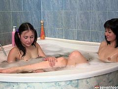 These chick love playing with bubbles in bath tub. They also loves playing lesbian sex games. So watch them going kinky in utterly exciting porn clip.