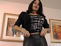 Nasty mom with curvy body is wearing sassy leather outfit. She looks trashy and provocative in the clothes. Exciting sex video presented by Jim Slip.