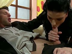 Provocative porn star flirts with horny guy letting him caresses her body. He slips his hands under her skirt lifting her knickers down. Then she sucks his dick deepthroat.