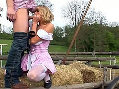 Out in the farm, this sexy blonde MILF is going to get fucked by the farmer in the ass before getting a facial outdoors.