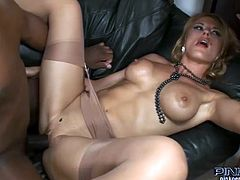 This horny hussy is only delighted for herself as she has black and white cocks to part her piss flaps.