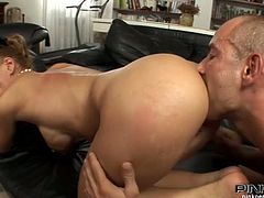 Nadia the stunning housewife has some muscular dude with her who's come to ride the ass off her before her hubby returns.
