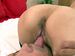 Hunky Japanese milf in steamy fishnet stockings welcomes a tongue fuck in pose 69 before she gets on a stiff penis for a ride in reverse cowgirl style, which is later replaced with a fuck in sideways pose.
