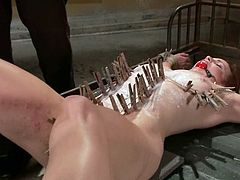 Hot busty bitch Bella Rossi gets bound by some guy in a basement. The man plays with Bella's tits and then attaches clothespegs all over her body.