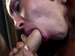 Shemale Milena doesn't even needs to move her lazy ass from that chair to get some action. A beautiful white gay comes to her and fills her mouth with his dick before kneeling to swallow her cock. He fills his throat with her penis and then a blonde bitch comes crawling and demanding her share of dick.
