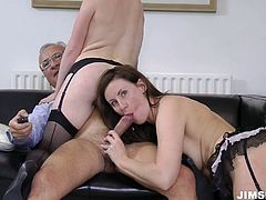 Provocative porn clip of threesome fuck session. Two horny bitches exploit the geezer riding him both. While one of the girls is riding his head the other one is riding his dick head.