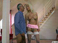 Attractive girl Pamela has got a look of a fancy doll. She is wearing dress and fishnet white stockings. Pamela bends over the edge of the couch getting nailed bad from behind.