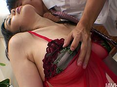 Torrid and palatable brunette looks just gorgeous in red stuff. Kinky hooker jams her boobs and closes eyes of delight while spoiled dude rubs her wet pussy tenderly. Check this nympho out in Jav HD sex clip and you'll jizz at once.