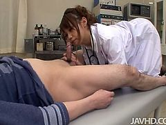 Adorable Japanese nurse Ebihara Arisa knows how to make her patient healthy. She is sucking her patient's cock to check out if he is completely recovered.