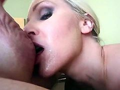Super sexy blonde bombshell with large boobs Julia Ann has beautiful blue eyes and sweet lips. Babe gets a delicious cum on her face after hot blowjob and fucks this dick with her boobs.