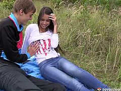 Paula and her BF are chilling together in the open air enjoying fresh air and wild nature. Then they ground to have a hot sex under the open sky.