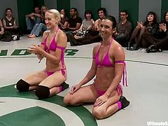 Dylan Ryan, Izamar Gutierrez, Krissy Lynn and Wenona fight on a ring and don't lose a chance to rub and lick one another's amazing cunts.