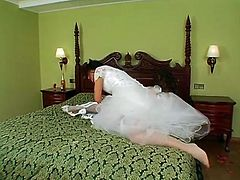 Two black heads look alike. Both slim nymphos wear white bride gowns. Only the winner will get a chance to be fucked by groom. So spoiled sluts with nice tits start fighting, grabbing necks, pushing and beating each other right on the wide bed.