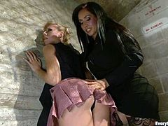 Kinky blonde babe gets her ass toyed and fisted by Isis Love. After that blonde chick gets her ass drilled by some horny guy.