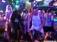 Night club party with hot chicks is about to turn into an orgy
