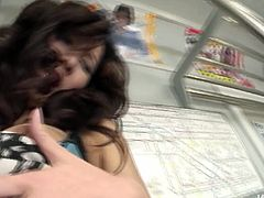 Thirsting for cum this hot Japanese brunette strips right in the subway car. Horny chick with pale tits wins a dick at once. Lewd gal kneels down and sucks the lollicock passionately for gooey sperm.