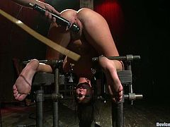 Hot girl gets tied up and clothespinned. Later on the guy covers her body with hot wax and toys her vagina.