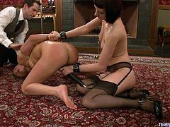 Watch this hot bondage scene where a sexy babe is tortured by her master and mistress as you get a look at her amazing body.