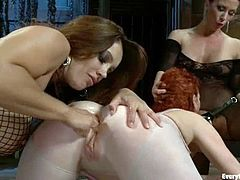 Crazy redhead chick licks asses and then gets her ass toyed and fisted. Later on two girls fuck this redhead slut in both holes.