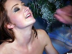 Two filthy half-naked sluts with vulgar make up kneel in front of aroused dudes to oral fuck their aroused dicks, while other hussies get pounded from behind in doggy pose in massive group sex orgy by Tainster.