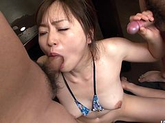 Peppering Japanese cutie in tiny lingerie kneels down to give double oral fuck getting her hairy pussy teased with vibrator in steamy gangbang sex video by Jav HD.
