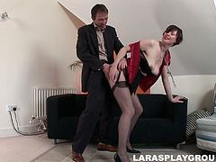 Whorish British lady Lara Latex seduces a man for a tough doggy fuck
