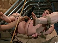 Sexy CiCi Rhodes strips her clothes off and gets tied up by Isis Love. After that she gets whipped and drilled with a strap-on. In addition she gets fisted deep in her vagina.