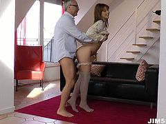 Appetizing gal with shining light hair and sweet tits wears stockings and sexy lingerie. Ardent gal seduces a grey haired man for being fucked from behind tough. Handjob is what lewd nympho gonna provide him with as a kind of warming up.