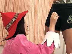Thirsting for cum torrid nympho from Japan desires to suck and rub dicks. This a bit plump pale nympho is surely expert in giving both handjob and blowjob for sperm. Ardent gal in red hat giggles madly and pleases dudes as if there's no tomorrow.