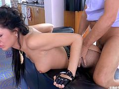 Cum addicted brunette with pale ass and tits wears stockings and looks rather hot. Kinky nympho is mad about tough poking from behind. Tattooed wondrous gal is just a great expert in giving a tender handjob and solid blowjob for sperm. This tall and slim chick is surely worth checking out in incredibly hot Jim Slip sex clip to jerk off and jizz of pleasure.