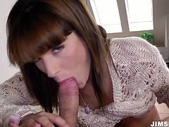 Mesmerizing and surely hot gal pulls up her dress. Palatable slim nympho stretches legs in stockings wide for being poked from behind. Riding a dick as well as sucking it for sperm are two things perverted nympho gets totally absorbed with.