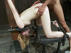 Isis Love is the hot blonde who's going to go through some crazy stuff in this video where she'll endure extreme bondage and rough fucking by Mickey Mod.
