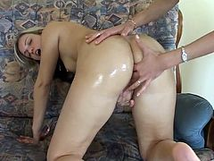 My mom has had plenty of anal sex so she is showing me how to be penetrated in my pooper by fingering me.