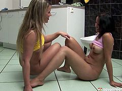 Two inexperienced curvy teens play dirty lesbian games. They tongue fuck each other's puffy slits in missionary and doggy styles in steamy sex video by Club Seventeen.