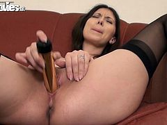 Brunette Beauty Sarah Dark in Stockings Masturbates wtih Shiny Dildo