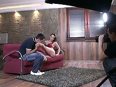 Brandy Smile and charming babe in beautiful red lingerie Kitty Cat having sweet time on the sofa in the behind the scenes movie. Enjoy this perfect, hot couple.