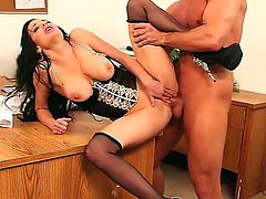 Veronica Avluv is a hot, horny and rich business woman. She loves when sexy young boys work as a secretaries and fulfill any requirements! Like Bill Bailey who fucks hot Veronica every business lunch.