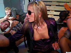 Enjoy a lot of drunk lesbians polishing each others slits right on the dance floor. They try to satisfy each other in extremely hot Tainster group sex tube video.