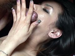 Hunky Japanese fairy lies on her back while an insatiable dude drills her beaver in missionary style. Her mouth, in turn, is busy giving a head to another aroused dude in sultry threesome sex video by Jav HD.