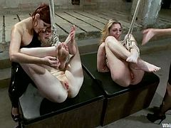 Two girls take their clothes off and get tied up by two other chicks. After that they get toyed and spanked.