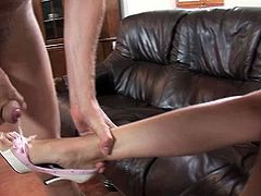 Horny bitch in glasses Claudia Rossi getting pounded in her asshole with massive schlong for a nice cumshot allover her sexy feet!