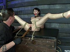This tied up nasty slut gets gagged and fucked on camera. By the end of this scene she is extremely exhausted and anxious to go home for the day.