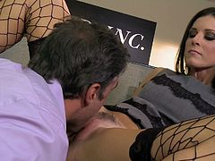 Naughty secretary enjoys having hardcore sex with her boss that pleases her so fine