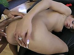 Milla Yul stands in doggie and feels how Rocco Siffredi pushes big red dildo into her anal hole. He dildoes the butt of bitch before pushing cock instead of toy right there.