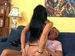 Cute horny brunette lass Sandra seduces daddy clark and then give rough ramming by long veiny dick