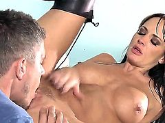 Busty pornstar Alektra Blue demonstrates her wonderful oral skills, swallowing the gigantic cock totally. She likes the taste of fresh cum and she cant live without anal drilling