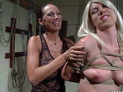 Chloe Bright is a blonde cutie with natural tits and sexy ass. Tied up chick get ruthlessly spanked by clothed dark haired mistress Mandy Bright in the dungeon,. Watch her get punished by kinky woman.